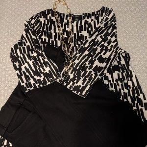 Alfani women 1X tunic, print top asymmetrical hem